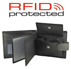 Mens Quality Soft Black Leather Wallet - 7 C/Cards, 3 Windows & 3 Note Sections