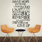 Have Hope Live  Never Ever Give Up new! bedroom design AFC57 wall sticker
