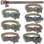 Bling Full Rhinestone Dog Collars Pet PU Leather Cat Puppy Collars Small Large