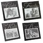 BLACK GLASS 6 x 4 PICTURE PHOTO FRAME SILVER CRYSTAL WORDS CHOICE OF 4 STYLES