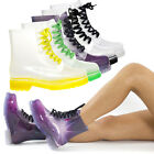 Women Jelly Rubber Transparent Ankle High Top Lace Up Flat Heel Rain Boots 5-11