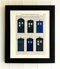 ART PRINT ON OLD ANTIQUE BOOK PAGE *FRAMED THE TARDIS, old and new, Doctor Who