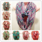 Color Mix Decorative Infinity Scarf Two Circle Cowl Neck Long Shawl