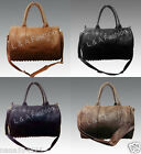 Ladies Celebrity Rock Chic Fashion Studded Bottom Duffel Tote Shoulder Bag