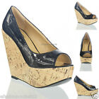 NEW WOMENS LADIES CORK WEDGE HIGH HIGH  PLATFORM WEDGES SHOES SIZE