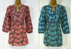 NEW DEBENHAMS LADIES 3/4 SLEEVE BLUE GREEN PINK BLACK SUMMER FLORAL TUNIC TOP