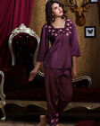 Free shipping Red/Purple silk blend 2pcs Women Sleepwear Pajama Sets M/L/XL/2XL