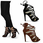 womens ladies new strappy lace up zip back stiletto party prom bridal shoes size
