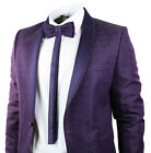 Mens Purple Tuxedo Dinner Suit Wedding Round Shawl Lapel Slim Fit Bow Tie Embroi