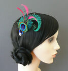 PEACOCK EYE Feather Headband Fascinator Pink Turquoise Blue Green Black Ivory