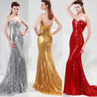 HOT Sequins Mermaid Formal Prom Gown Strapless Evening Party Cocktail Long Dress