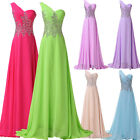 Long Maxi Chiffon One Shoulder Prom Party Cocktail Evening Gown Wedding Dresses
