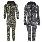 WOMEN LADIES ALL IN ONE PIECE JUMPSUIT HOODIE LEOPARD PRINT HOODY HOODED ONESIE