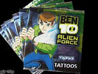 TOPPS Ben 10 Alien Force Temporary Tattoos New Sealed 3 x Tattoo Sheets Ben 10