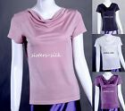 Women's Ladies 100% Pure Silk Knitted Swing Collar Short Sleeve Top T Shirt Tees