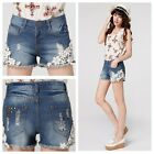 New Lady Women Girls Jean Denim Shorts Blue Destroyer Embroidery Summer Casual