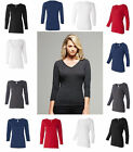Bella NEW Missy Ladies Jersey 3/4-Sleeve V-Neck T-Shirt S-2XL VALUE B-6425