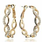 NEW Muti Tone Yellow Gold Silver Sparkle Big Round Hoop Earrings GM161US4