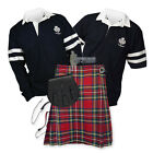 SPORTS KIT ESSENTIAL KILT OUTFIT - 2- STRIPE RUGBY TOP - STEWART ROYAL
