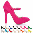 LADIES WOMEN MARY JANE STYLE HIGH STILETTO HEEL SUEDE PATENT SHOES SIZE 3-8 NEW