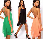 Sexy Womens Chiffon Backless Sling Strap Prom Cocktail Mini Party Dress Skirts W