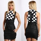 140 Corset Leather Look Close-Fitting Jeans Pinafore Dress/Skirt Size 6 - 12