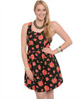 New Womens BLACK PINK Summer FLORAL Print Skater Dress Plus Size XL/1X/2X/3X