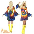 1960s 1970s Tie Dye Costume Hippy Hippie Retro Womens Ladies Fancy Dress Outfit