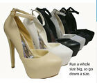 White Beige Black Silver Platform Ankle Strap High Stilettos Heels Pumps Shoes