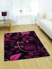 Brand New Infinite Damask Black and Pink Rug in Six Sizes