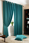 Jacquard Teal Curtains - Fully Lined Faux Silk Ready Made Eyelet Curtain
