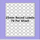 A4 Self Adhesive Labels ~ 25mm Round Circle Labels ~ 70 per Sheet