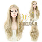 """Long Curly Wavy 24""""/ 28"""" Mixed Ash Blonde Lace Front Wig Heat Resistant"""