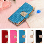 MAGNETIC BLING DIAMOND WALLET CARD LEATHER FLIP CASE COVER FOR IPHONE & SAMSUNG