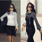 Korean Fashion Women Lady Slim T-Shirt Puff Long Sleeve Polo Neck Stripe Tops