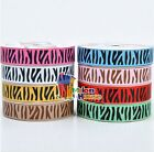 "1"",5/8""&3/8"" (U pick) Zebra Printed Grosgrain Ribbon hair Bow 5/20/50 Yds Craft"