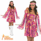 60s Pink Swirl Hippy Fancy Dress Costume Ladies Womens Hippie Outfit UK 8-30