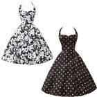Floral Vintage Retro Sexy Halter Jive Rockabilly Party Prom Swing Evening Dress