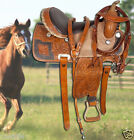 New 15 16 Western Brown Barrel Racing Trail Horse Leather Ostrich Saddle Tack