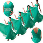 2014 Sexy V Chiffon Long Evening Formal Bridesmaid Ball Gown Prom Party Dress 01