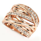Rose Gold GP wide band stripes swarovski crystal cocktail ring v742