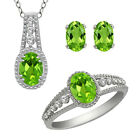 Silver Ring Pendant & Earrings Set 3.00 Ct Green Peridot & White Topaz Sterling
