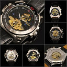UY14 LUXURY Charm Semi Auto Gold Tone Skeleton Mechanical Men Leather Watch +Box