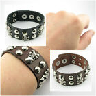 UH041 Rock Skull Round Stud Leather Men/Lady Button Punk Bracelet Wristband Cuff