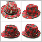 UW13 Western Cowboy Men/Women Red Check Hat Skull Stud Crystal Punk Gothic