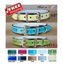 Leather Collars and Laeshes - Studded Custom Patent Leather Puppy Collars - XS