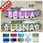 Rhinestone Dog Collars - Bling Cat Collars - Leather Dog Collar With Name - XS