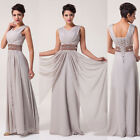 Trendy Grey Wedding Party Gown Prom Cocktail Long Maxi Evening Bridal Dress JS
