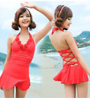 Hot Red one piece women push up swim dress plus size M to XL swimwear swimsuit