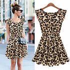 HOT LADY High Waist Crew Neck Leopard Print Party Cocktail Mini Dress Clubwear